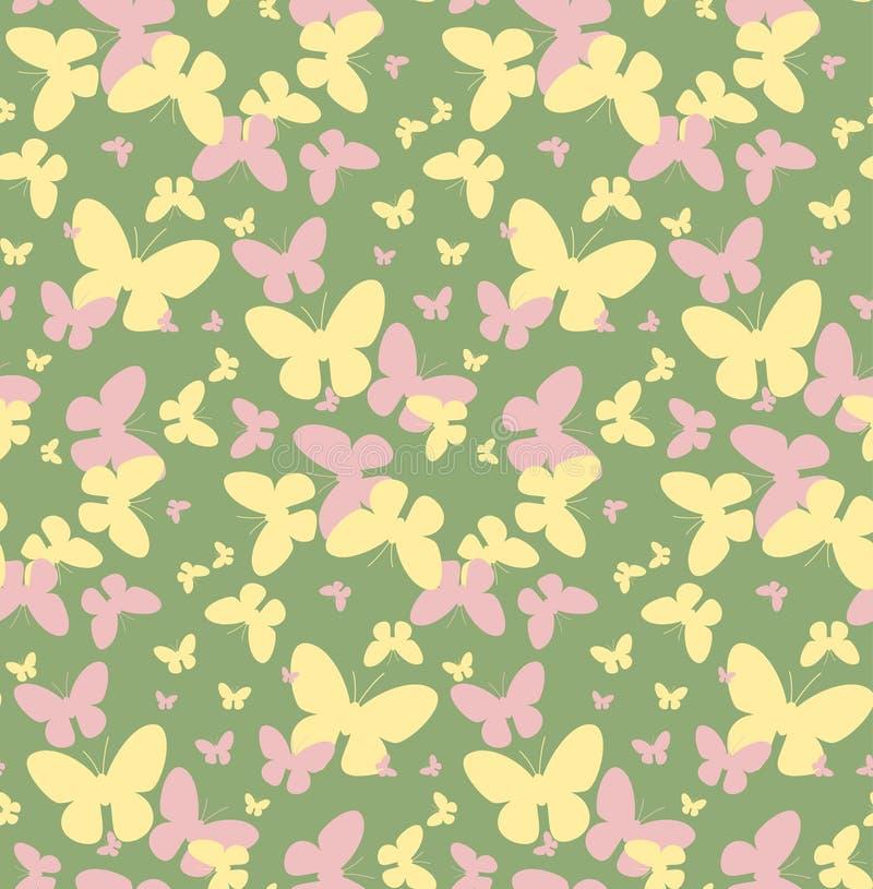Sömlös vektormodell med gula och rosa fjärilar royaltyfri illustrationer
