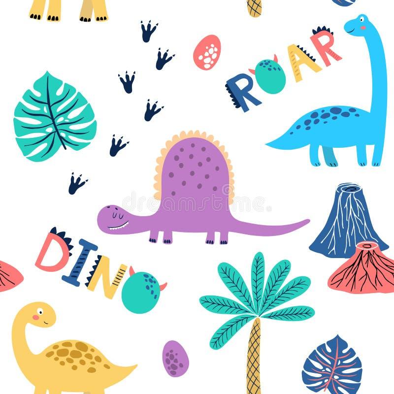 Sömlös vektormodell med gulliga dinosaurier för typografiaffischen, kort, etikett, broschyr, reklamblad, sida, banerdesign Vektor vektor illustrationer
