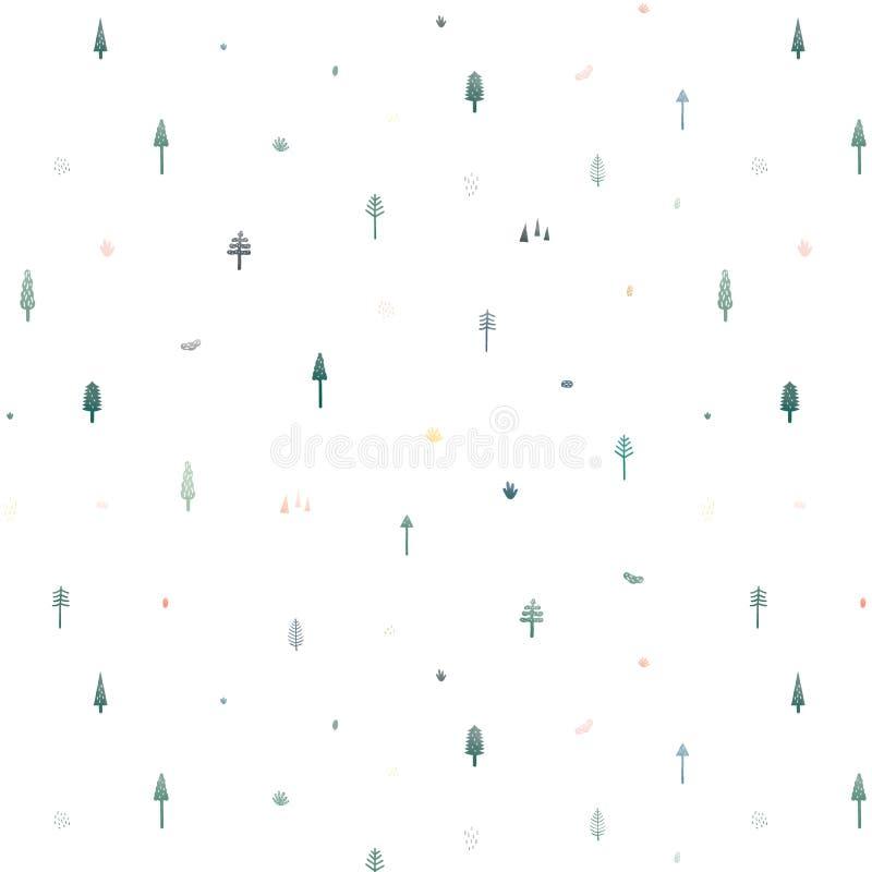 Sömlös vektormodell med gulliga julgranar på vit bakgrund Modellillustration i minsta tecknad filmstil Abstrakt doo stock illustrationer