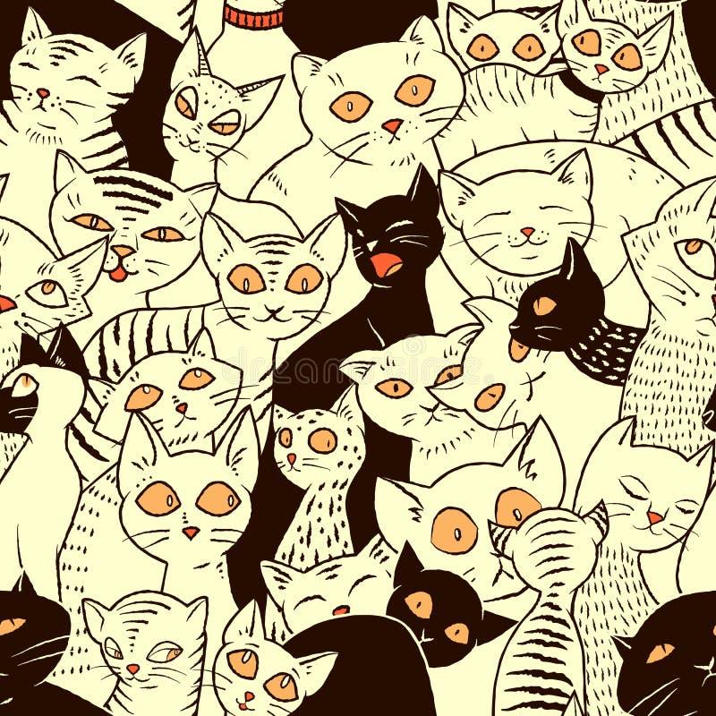 Sömlös vektormodell med gulliga katter vektor illustrationer