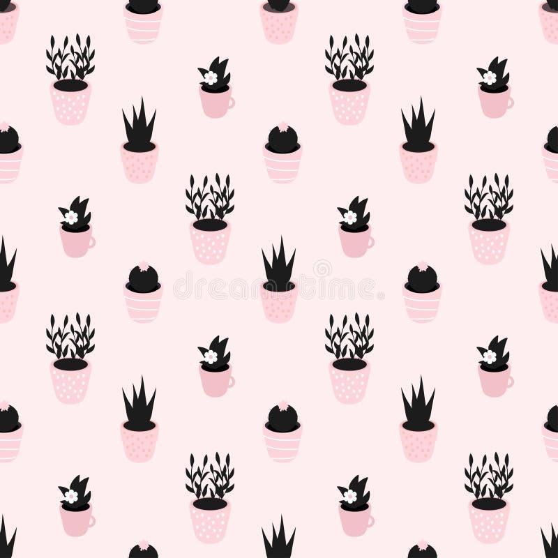 Sömlös vektormodell med härliga inlagda växter i svarta och rosa färger vektor illustrationer