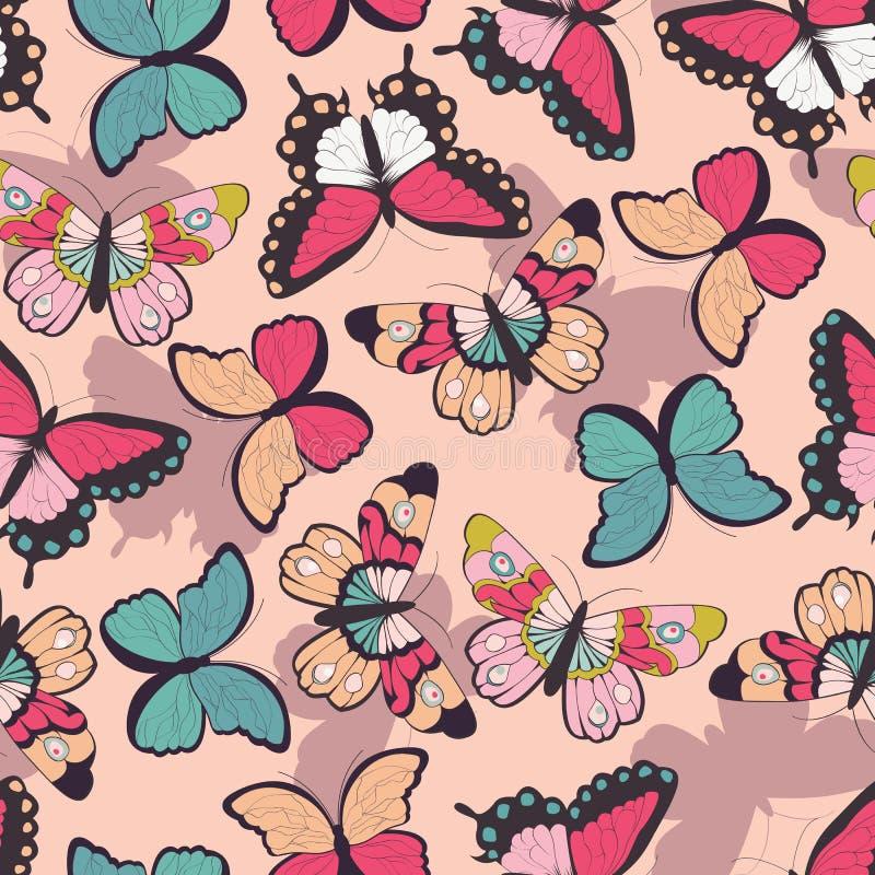 Sömlös vektormodell med hand drog färgrika fjärilar royaltyfri illustrationer