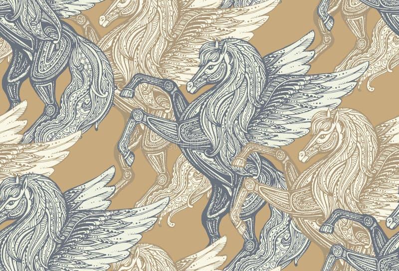 Sömlös vektormodell med hand drog Pegasus stock illustrationer