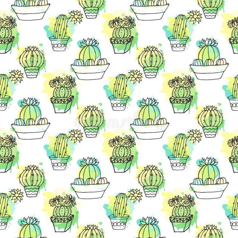 Sömlös vektormodell med kaktuns Färgrik bakgrund med vattenfärgfärgstänk och kakturs Suckulent samling vektor illustrationer