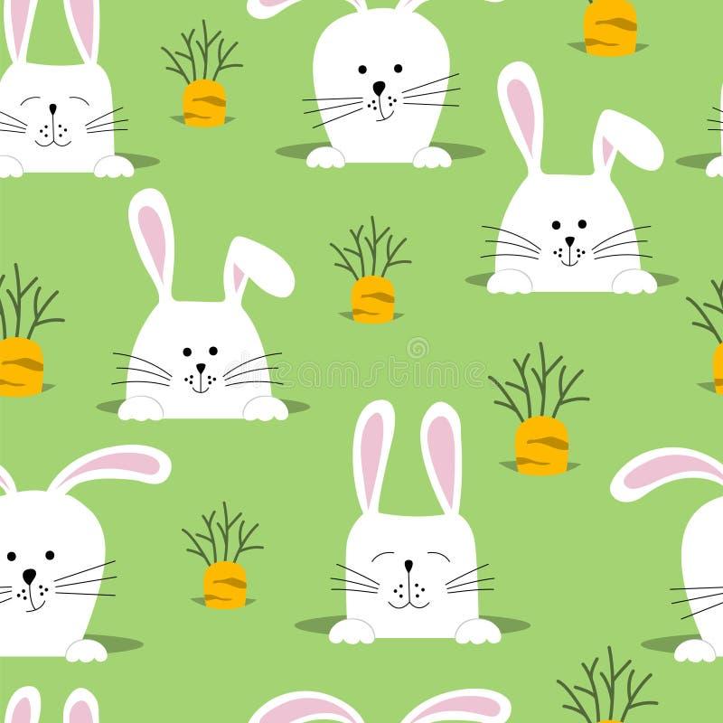 Sömlös vektormodell med kaniner och morötter vektor illustrationer