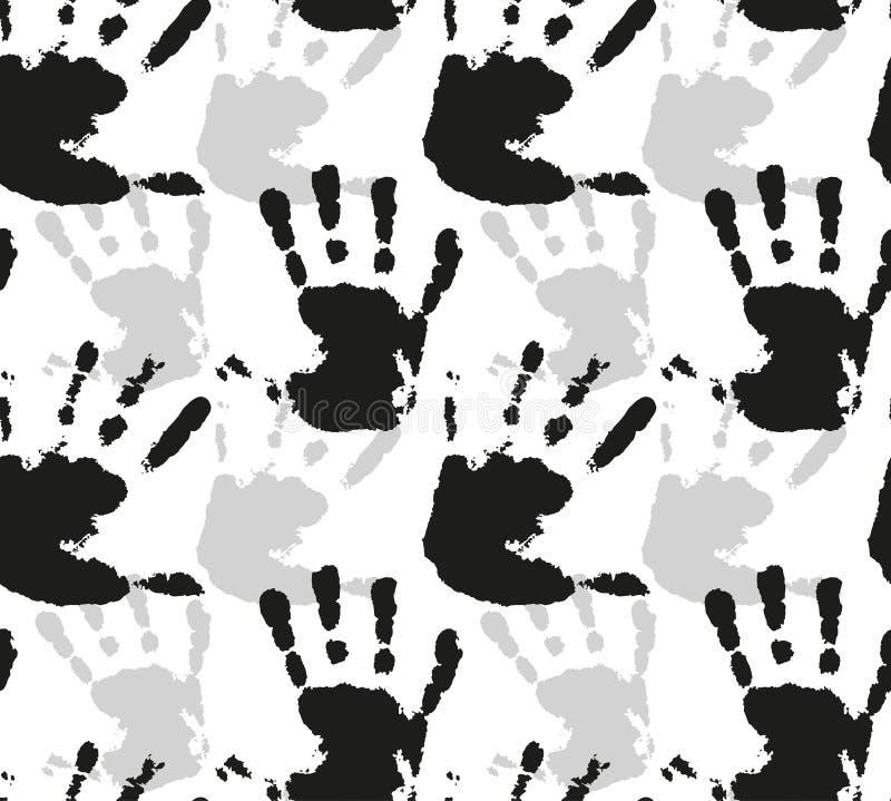 Sömlös vektormodell med konturer av vattenfärgtryck av barns händer vektor illustrationer
