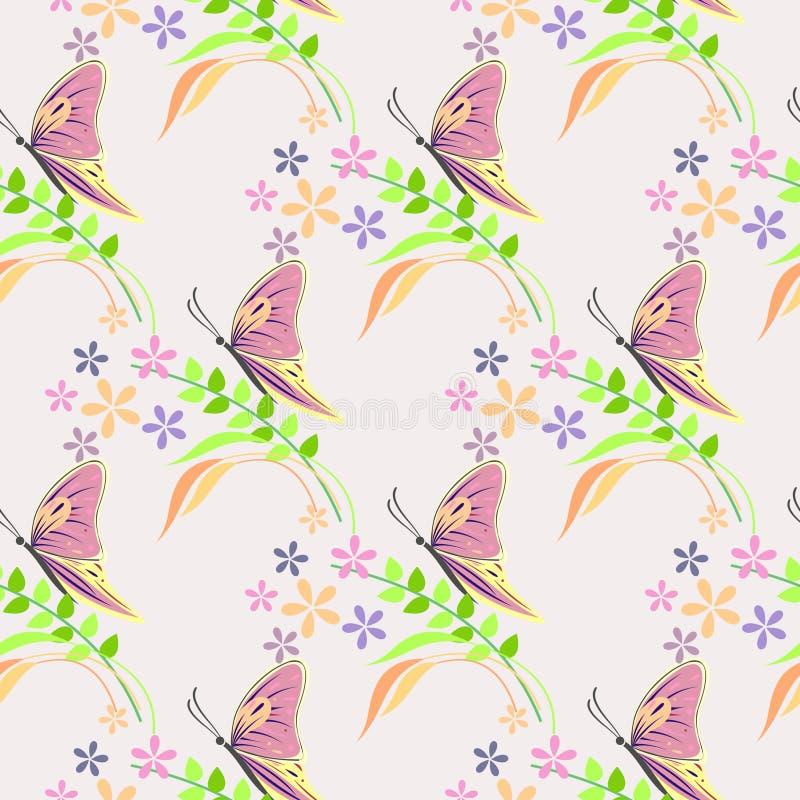 Sömlös vektormodell med kryp, bakgrund med färgrika fjärilar, blommor och filialer med sidor över den ljusa bakgrunden royaltyfri illustrationer