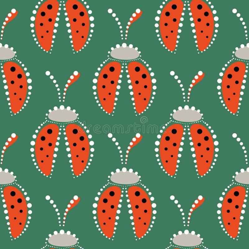 Sömlös vektormodell med kryp, symmetrisk bakgrund med röda dekorativa closeupnyckelpigor, på den gröna bakgrunden stock illustrationer