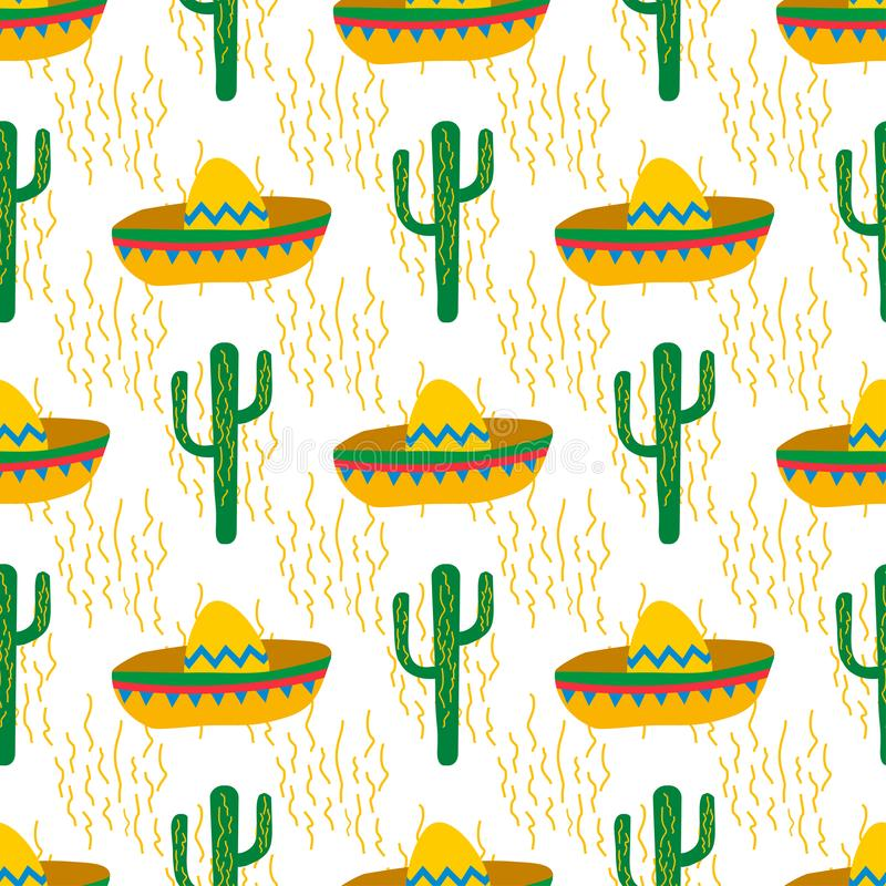 Sömlös vektormodell med mexikanska festliga symbolkonturer: kaktus sombrero stock illustrationer