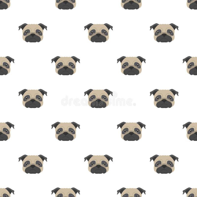 Sömlös vektormodell med mops Symbol för lägenhet för hundhuvud royaltyfri illustrationer