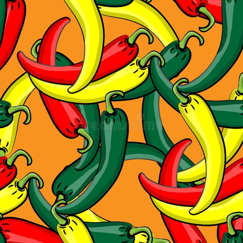 Sömlös vektormodell med nya mogna chilipeppar stock illustrationer