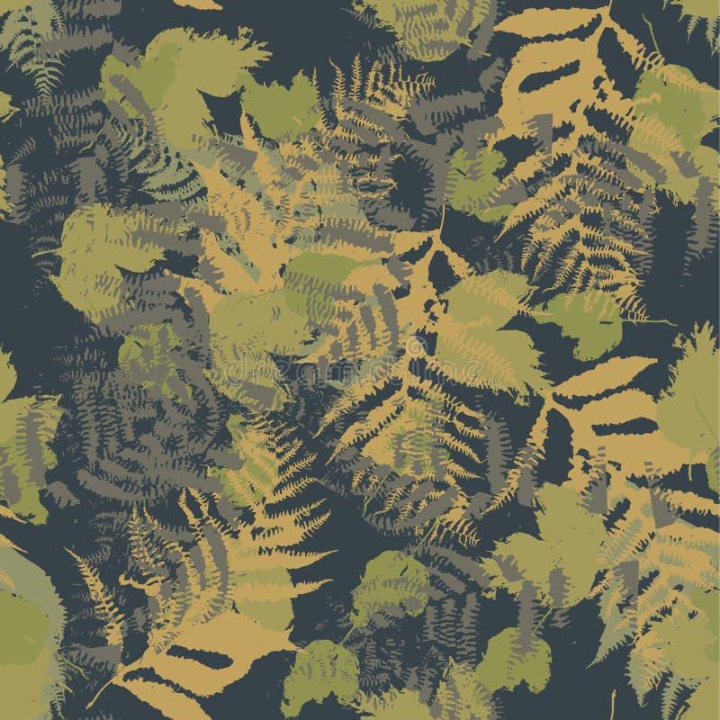 Sömlös vektormodell med ormbunken och höstsidor Bakgrund i en kamouflagestil vektor illustrationer