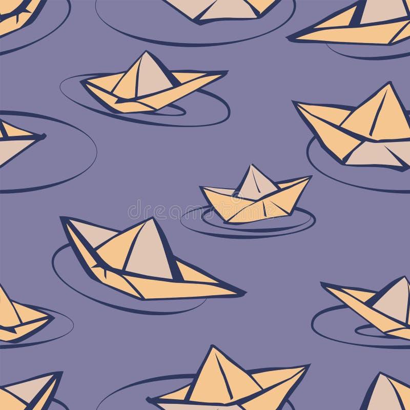 Sömlös vektormodell med pappers- fartyg i tecknad filmstil vektor illustrationer