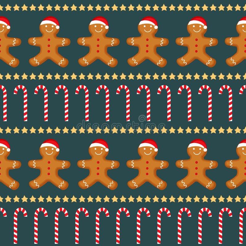 Sömlös vektormodell med pepparkakamannen, godisrottingen och stjärnor för nytt års dag, jul, vinterferie, matlagning, ny jaröst royaltyfri illustrationer