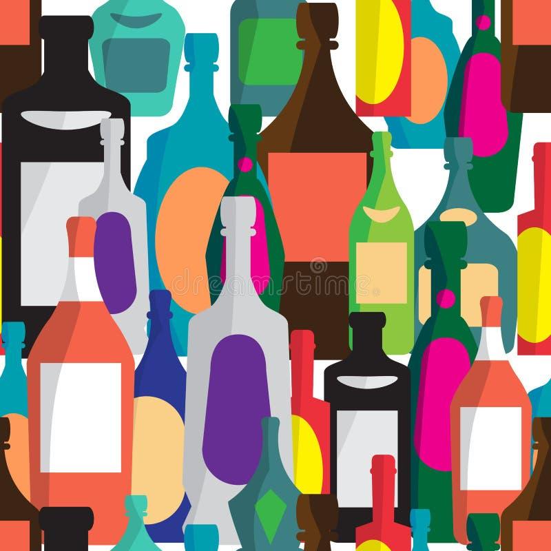 Sömlös vektormodell med plana flaskor av alkoholdrycker royaltyfri illustrationer