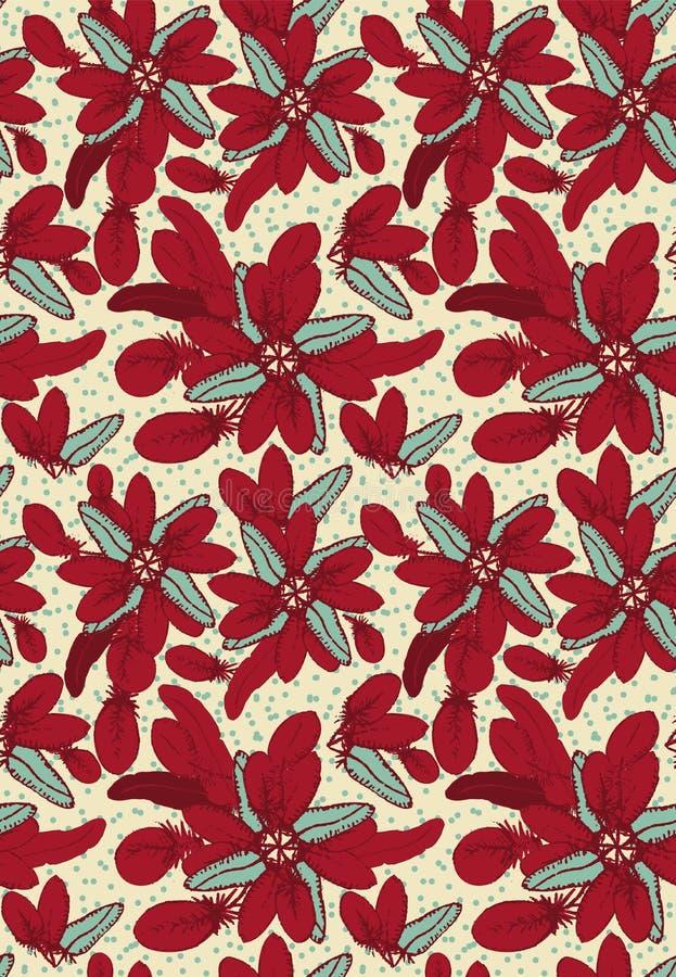 sömlös vektormodell med röda fjädrar som ordnas in i blom- julstjärnaformer royaltyfri illustrationer
