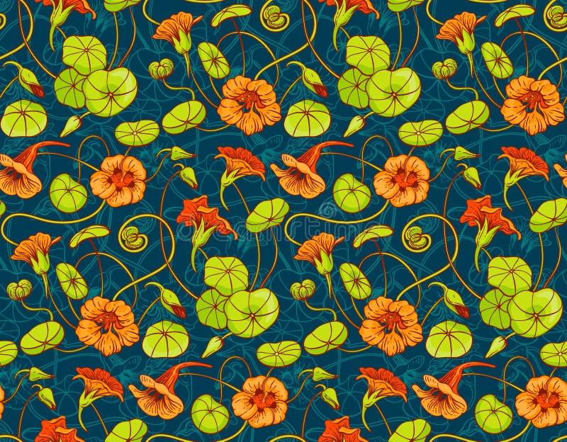 Sömlös vektormodell med röda och gula indiankrasseblommor och sidor på mörker - blå bakgrund vektor illustrationer
