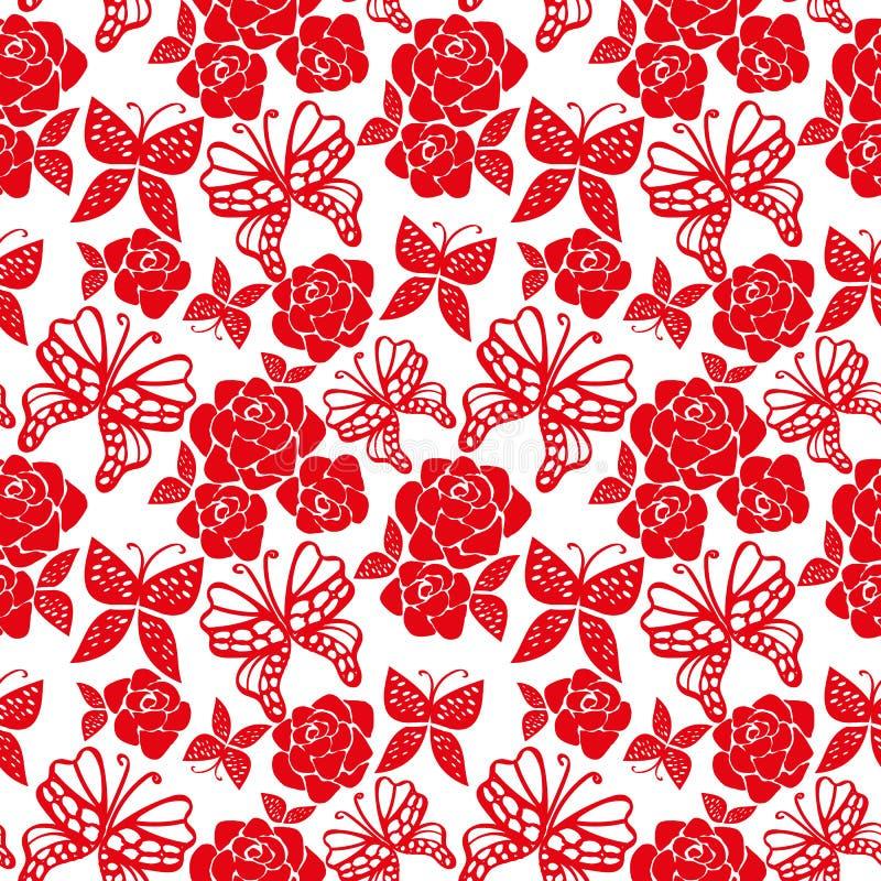 Sömlös vektormodell med röda rosor och fjärilar på vit bakgrund vektor illustrationer