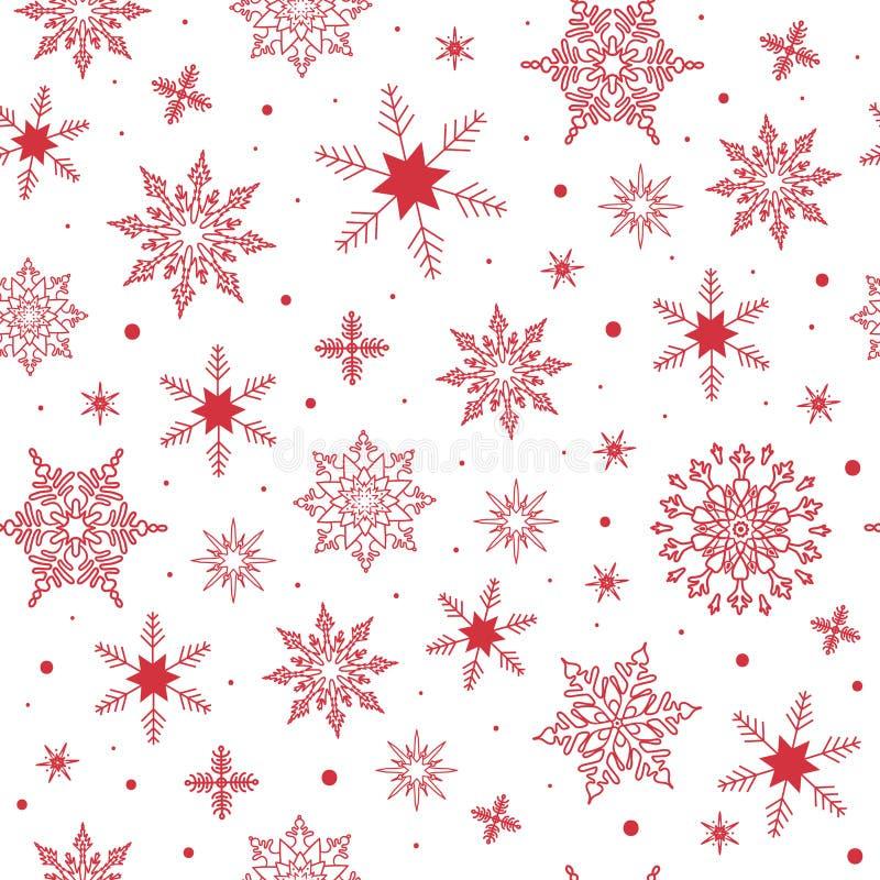 Sömlös vektormodell med röda snöflingor på den vita bakgrunden Vinternedg?ng royaltyfri illustrationer