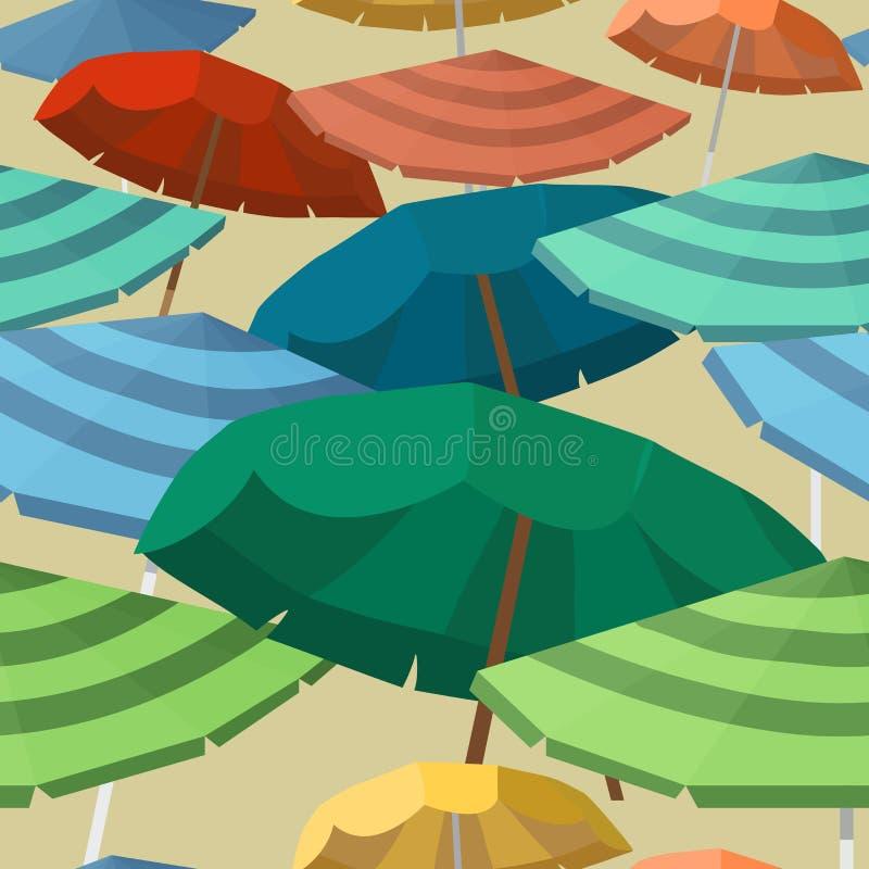 Sömlös vektormodell med strandparaplyer vektor illustrationer