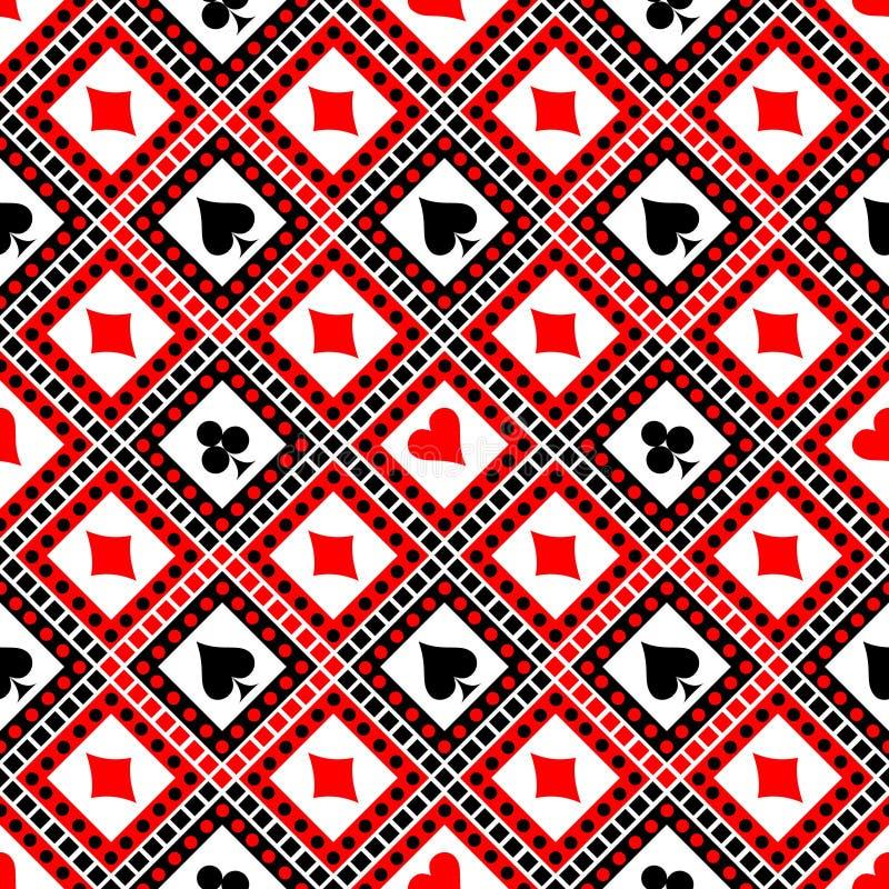 Sömlös vektormodell med symboler av playingskort Ljus röd svartvit symmetrisk geometrisk bakgrund royaltyfri illustrationer