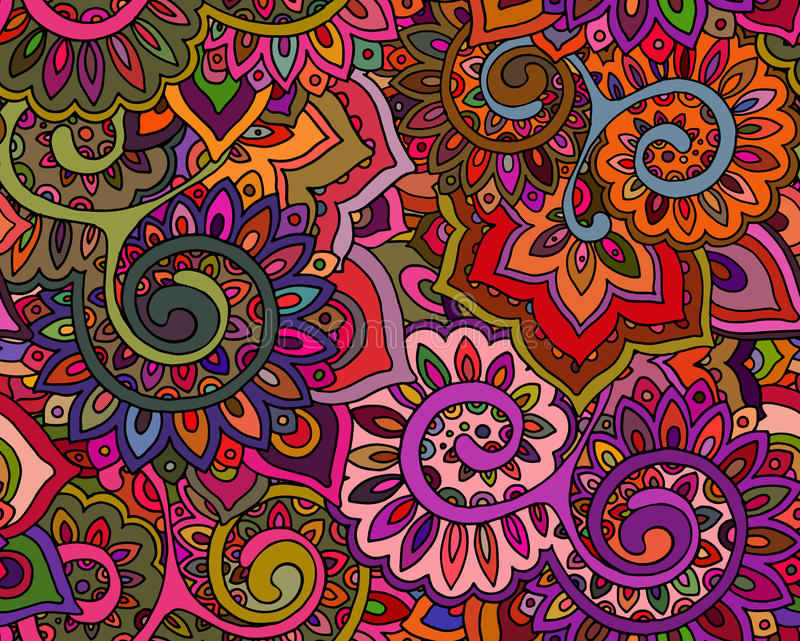 Sömlös vektormodell med traditionella orientaliska blom- ornamen vektor illustrationer