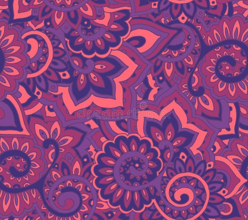 Sömlös vektormodell med traditionella orientaliska blom- ornamen stock illustrationer