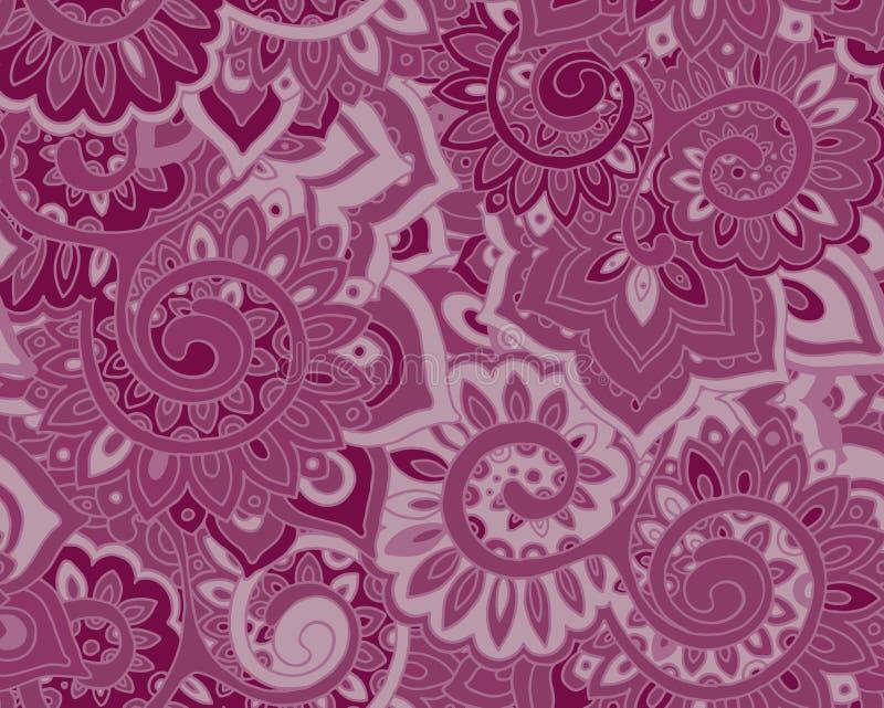 Sömlös vektormodell med traditionella orientaliska blom- ornamen royaltyfri illustrationer