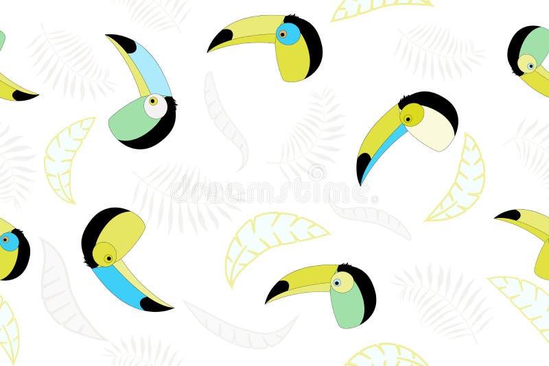 Sömlös vektormodell med tukan och palmblad Moderiktig tropisk design vektor illustrationer