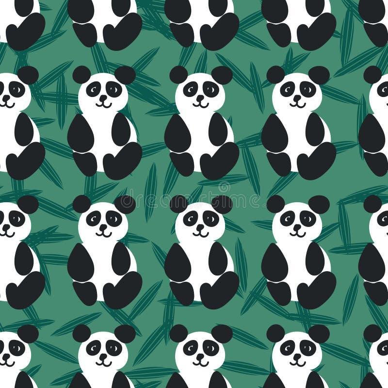 Sömlös vektormodell med vänliga pandor på grön bakgrund stock illustrationer