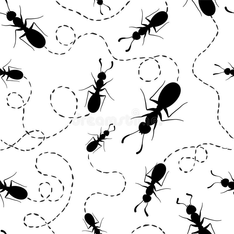 Sömlös vektormodell - myror med spår royaltyfri illustrationer