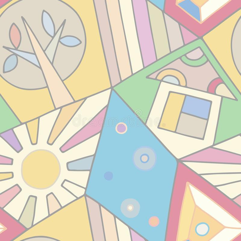 Sömlös vektormodell, pastellfärgad rosa assymetrisk geometrisk bakgrund med huset, träd, sol, romb Tryck för dekoren, tapet, vektor illustrationer