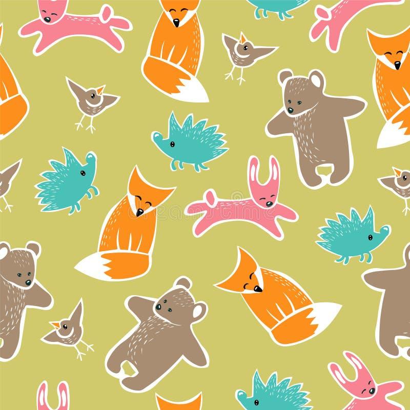 Sömlös vektormodell - skogdjur (igelkott, räv, björn, kanin, fågeln) stock illustrationer