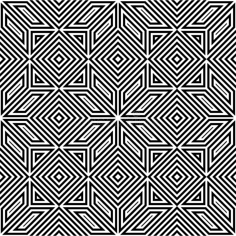 Sömlös vektormodell, svartvit fyrkantig mosaik royaltyfri illustrationer