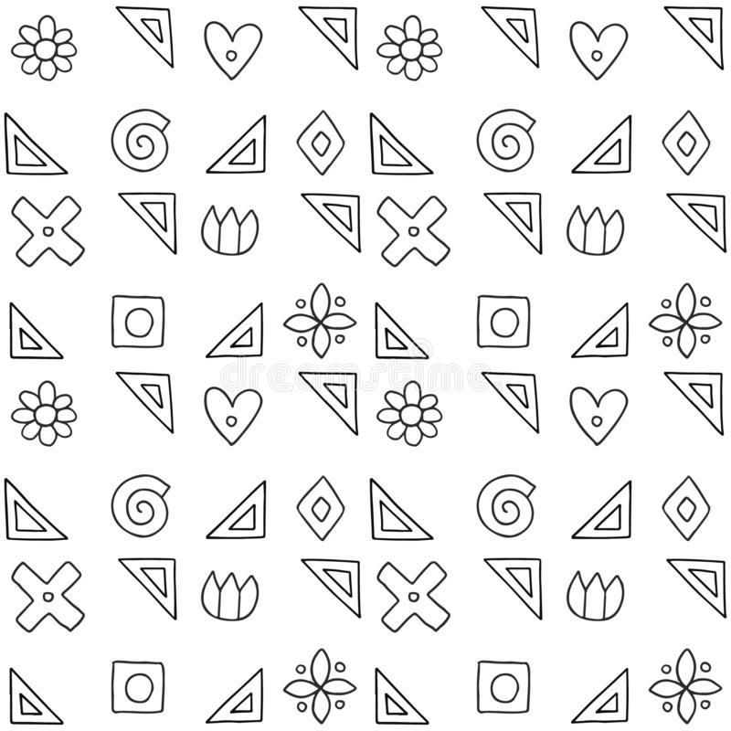Sömlös vektormodell, svartvit geometrisk bakgrund med blomman, blad, hjärtor, kors, fyrkant Tryck för dekoren, tapet vektor illustrationer