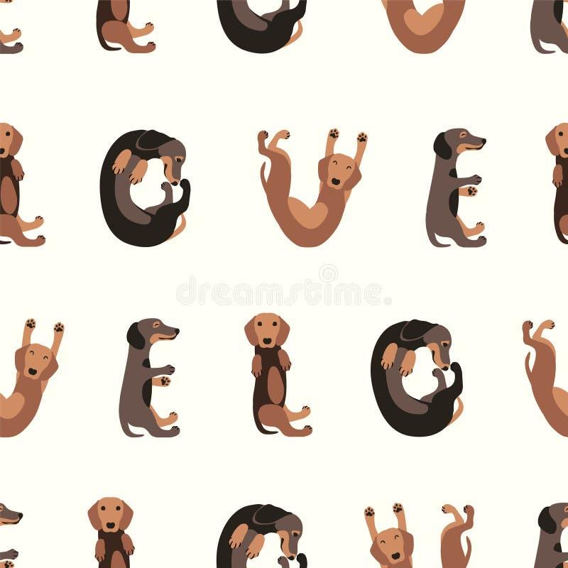 Sömlös vektormodell - taxhund vektor illustrationer