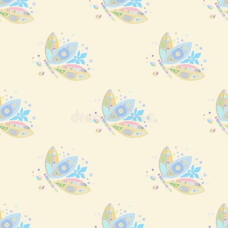 Sömlös vektormodell, utdragen dekorativ bakgrund för hand med gulliga fjärilar Pastellfärgad mono färg som upprepar mallen för vektor illustrationer