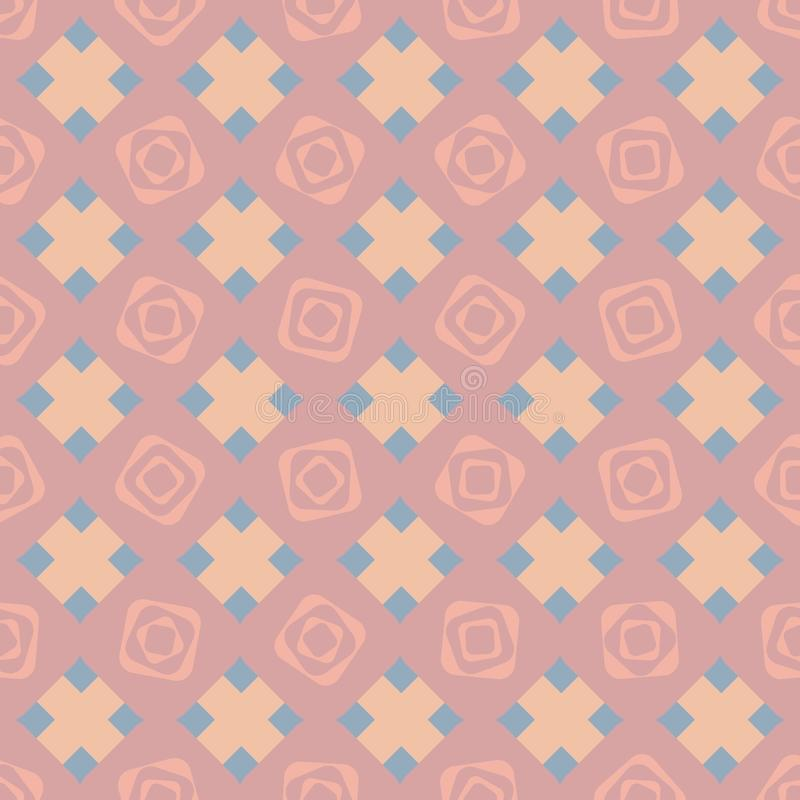 Sömlös vektormodellbakgrund med stiliserade geometriska rosor royaltyfri illustrationer