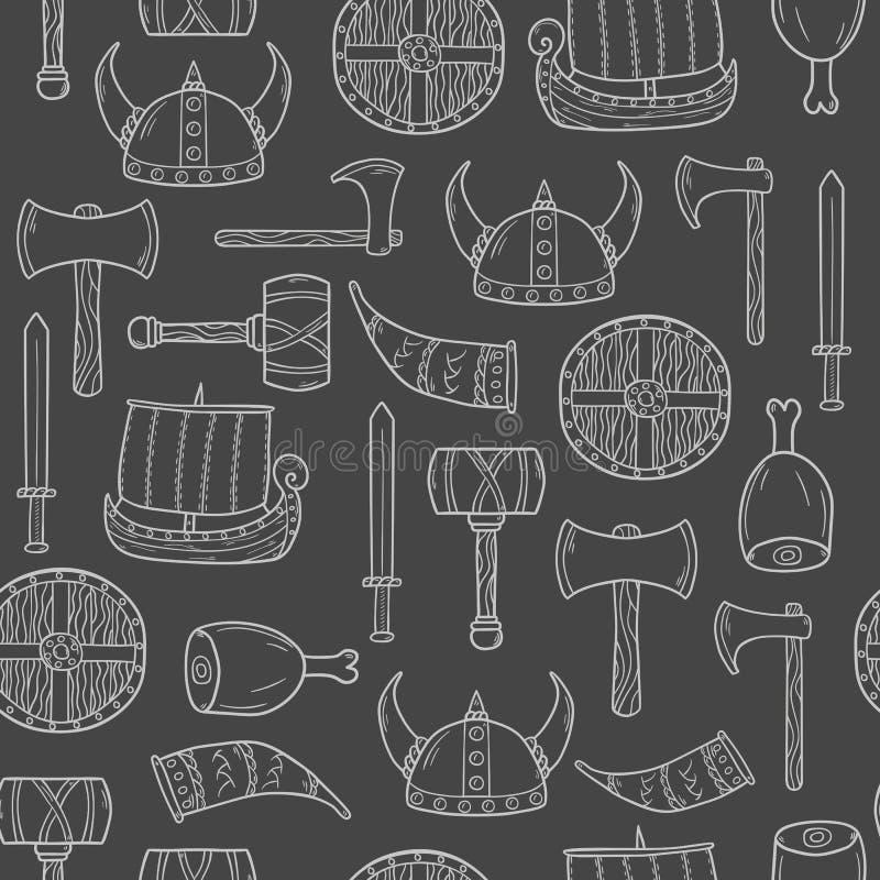 Sömlös viking bakgrund vektor illustrationer