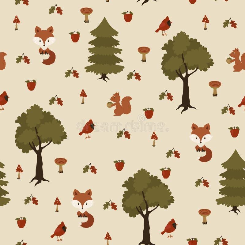 Sömlös vilda djur i skogmodellen vektor illustrationer