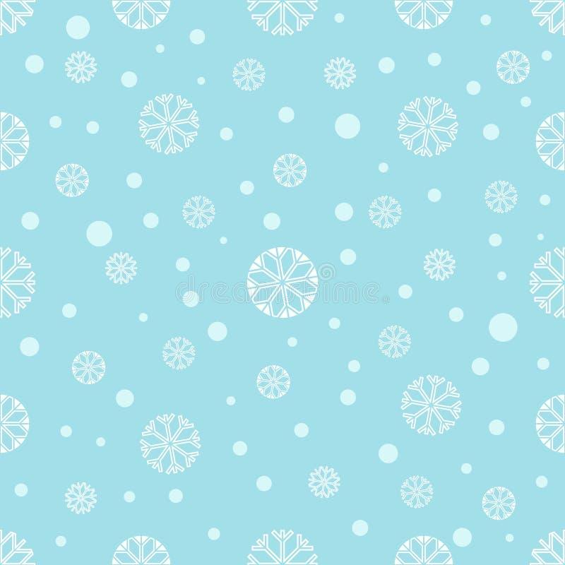 Sömlös vinterbakgrund med snöflingor stock illustrationer