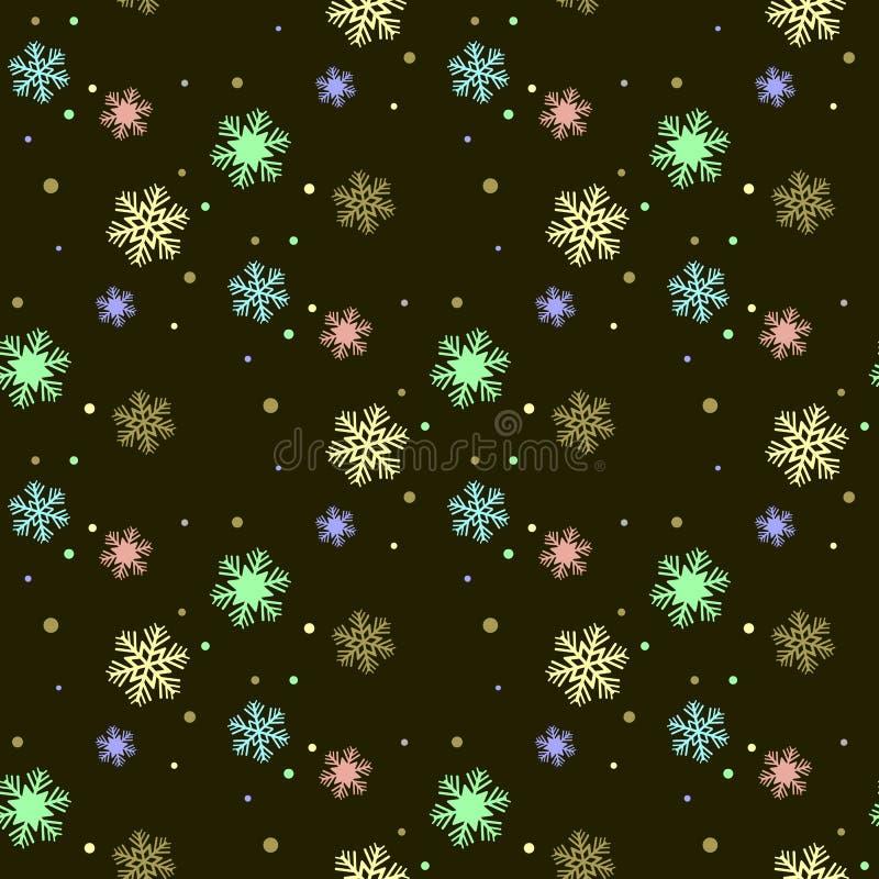 Sömlös vintermodell med färgrika snöflingor Flickaktig gullig stil bakgrunds- och färgbroschyr royaltyfri illustrationer