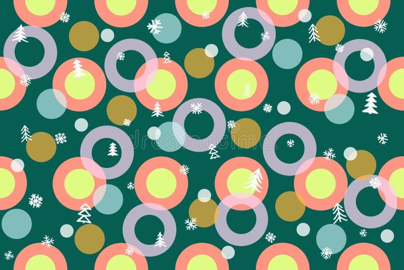 Sömlös vintermodellbakgrund Färgrika bollar, cirklar, Chris royaltyfri bild
