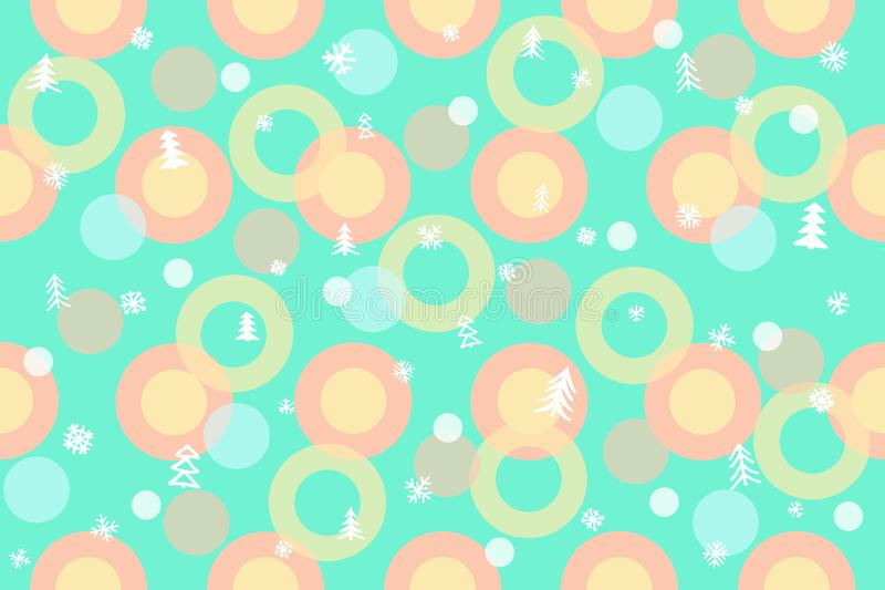 Sömlös vintermodellbakgrund Färgrika bollar, cirklar, Chris royaltyfria foton