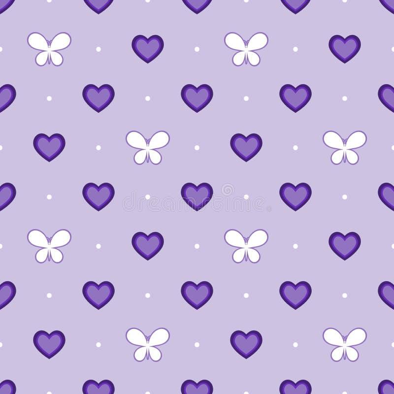 Sömlös violett modell med hjärtor och fjärilar, vektor royaltyfri illustrationer