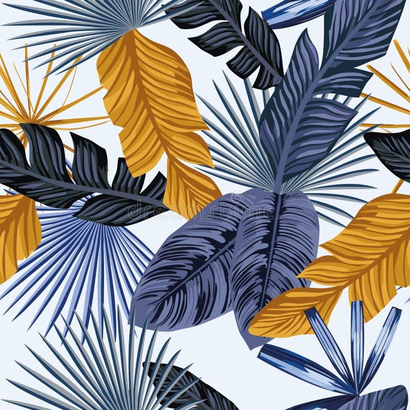 Sömlös vit bakgrund för blåa guld- palmblad royaltyfri illustrationer