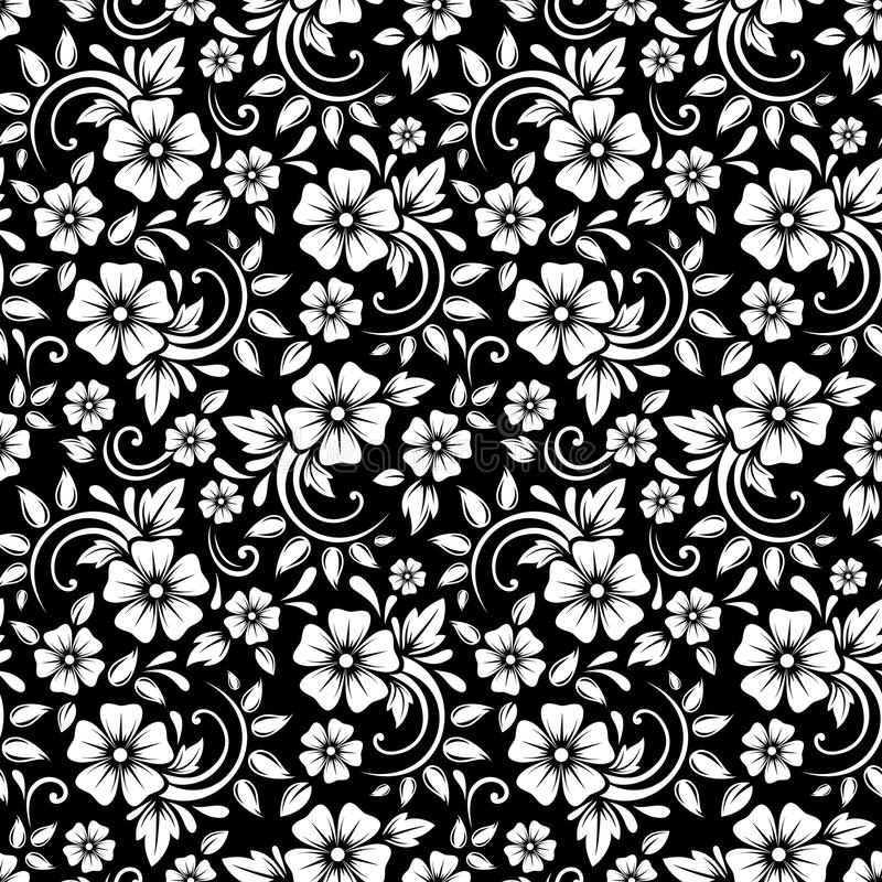 Sömlös vit blom- modell för tappning på en svart bakgrund också vektor för coreldrawillustration royaltyfri illustrationer