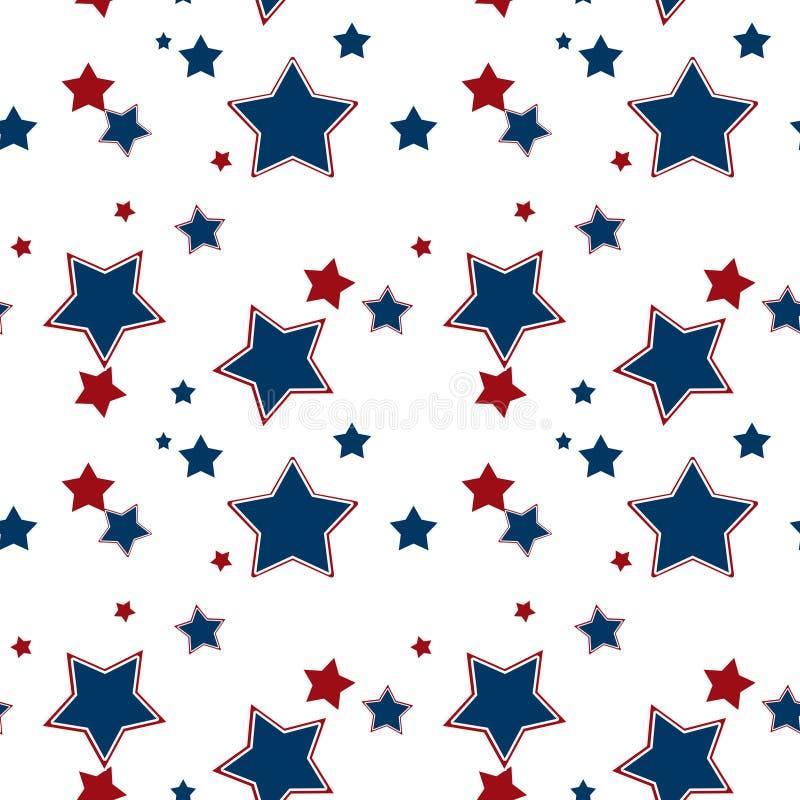 Sömlös vit modell med röd bakgrund för blåa stjärnor stock illustrationer