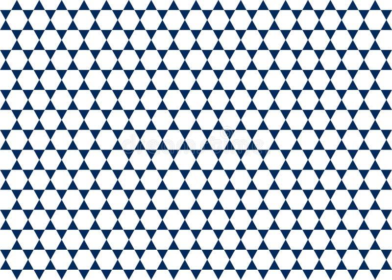 Sömlös vita sexhörningar och mörkt - geometrisk modellbakgrund för blåa trianglar royaltyfri illustrationer