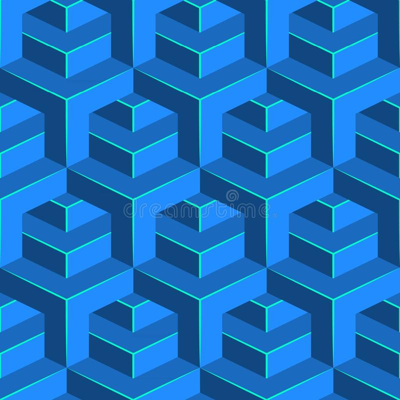 Sömlös volymetrisk modell Isometrisk geometrisk bakgrund Glansig kubprydnad royaltyfri illustrationer